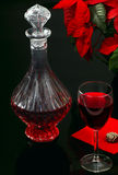 Glass of red wine and decanter Royalty Free Stock Photography