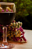 Glass of red wine and flowers Stock Images