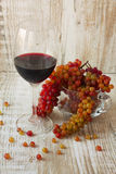 Glass of red wine and fresh grapes Royalty Free Stock Images