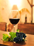 Glass of Red Wine with grape Royalty Free Stock Photos
