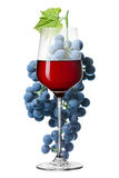 Glass of red wine and grape isolated on white Stock Photo