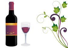 Glass, Red Wine and Grapes!. Glass of red wine and bottle with decorative border of grapes Stock Images