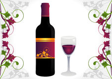 Glass, Red Wine and Grapes!. Glass of red wine and bottle with decorative border of grapes Stock Image