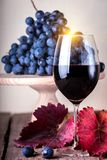 Glass of red wine. And grapes in the background stock photo