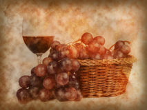 Glass of red wine and grapes background. Glass of red wine and grapes on texture of old paper Royalty Free Stock Images