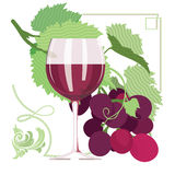 Glass of red wine, grapes, grape leaves. Ornamental, flat illustration Stock Photo