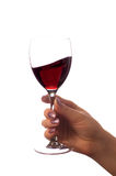 Glass of red wine (isolated on white).  royalty free stock image
