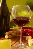 Glass of red wine outdoor Royalty Free Stock Images