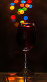 A glass of red wine. Ready to start the party stock photo