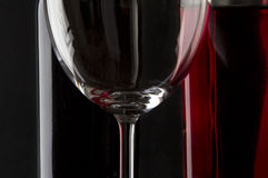 Glass of red wine refractions Stock Photo