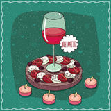 Glass of red wine and salad Caprese Stock Photo
