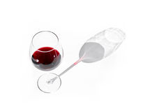 Glass of red wine with shadow Stock Photos