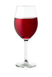 Glass of red wine. A single glass of red wine on white Royalty Free Stock Photography