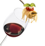 Glass with red wine and  spaghetti Stock Photography