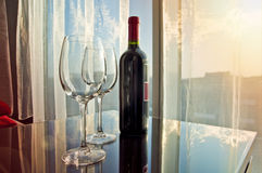 Glass of red wine at sunset Royalty Free Stock Image