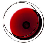 Glass of red wine. Top view royalty free stock photography