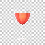 Glass of red wine. Vector illustration on checkered background Royalty Free Stock Images
