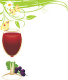 Glass of red wine with a vine. Spring composition Royalty Free Stock Photos