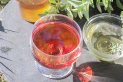 Glass of red wine vinegar Stock Image