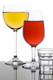 Glass of Red Wine and White Wine Royalty Free Stock Image