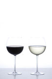 Glass of red wine and white wine Royalty Free Stock Photo