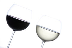 Glass of red wine and white wine Stock Images