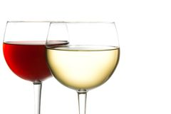 Glass of red wine and white wine stock photography