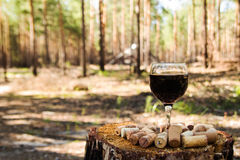 A glass with a red wine and wine corks on a stump in a summer forest. royalty free stock photography