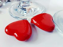 Glass redhearts love valentinesday decoration. Valentine relation symbol romantic Royalty Free Stock Photo
