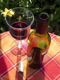 Glass of redwine. Gardenscene with a glass of redwine Royalty Free Stock Images