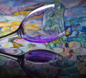 Glass reflected in water. Nice glass reflected in water royalty free stock photography