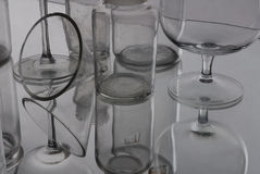 Glass reflexion. Glass objects and their reflexion stock photos