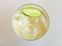 Glass of refreshing cold ginger ale Top view Royalty Free Stock Image