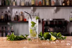 A glass with refreshing mojito stock photo