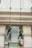 Glass rengöringsmedel som abseiling från en högväxt byggnad Arkivbild
