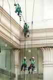 Glass rengöringsmedel som abseiling från en högväxt byggnad Royaltyfria Foton