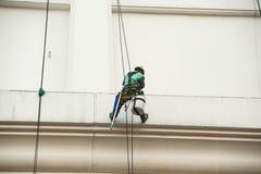 Glass rengöringsmedel som abseiling från en högväxt byggnad Arkivfoton
