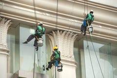 Glass rengöringsmedel som abseiling från en högväxt byggnad Royaltyfri Bild