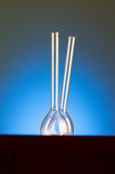 Glass retorts against  gradient background Royalty Free Stock Image