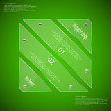 Glass rhombus template divided to four parts on green Royalty Free Stock Photos