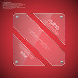 Glass rhombus template divided to three parts on red Royalty Free Stock Photos