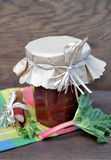 Glass of rhubarb jam . Royalty Free Stock Image