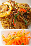 Glass rice noodles with beef and carrots Royalty Free Stock Photography
