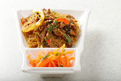 Glass rice noodles served with beef Royalty Free Stock Images