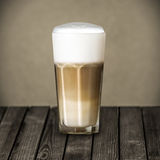 Glass of rich foamy Italian Macchiato coffee Stock Photos