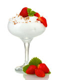 Glass of ripe strawberries with cream Royalty Free Stock Photography