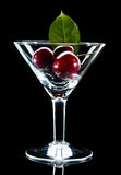 Glass with ripe sweet cherry Royalty Free Stock Images
