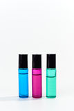 Glass Roller Bottles Blue Pink Green Stock Photo
