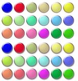 Glass rollover-buttons. Glass buttons with and without shadow and in different colors stock illustration