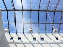 Glass roof. With lapms. Fragment of modern building Royalty Free Stock Images